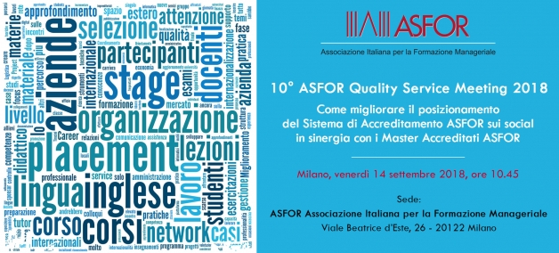 10° ASFOR Quality Service Meeting - 14 settembre 2018